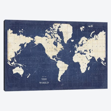 Blueprint World Map - No Border Canvas Print #SLB41} by Sue Schlabach Canvas Art Print