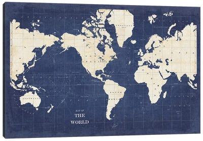 Blueprint World Map - No Border Canvas Art Print