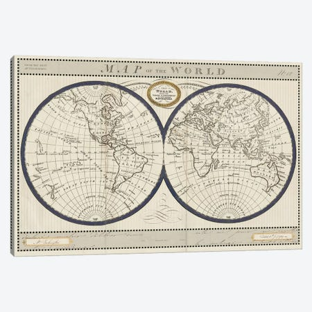 Torkingtons World Map with Indigo Canvas Print #SLB44} by Sue Schlabach Canvas Wall Art