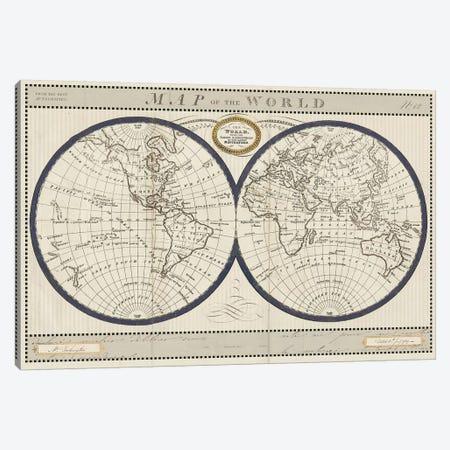 Torkingtons World Map with Indigo Canvas Print #SLB44} by Sue Schlabach Canvas Wall Art