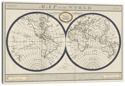 Torkingtons World Map with Indigo Canvas Art Print