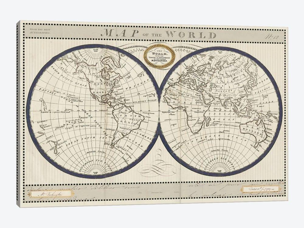 Torkingtons World Map with Indigo by Sue Schlabach 1-piece Canvas Art