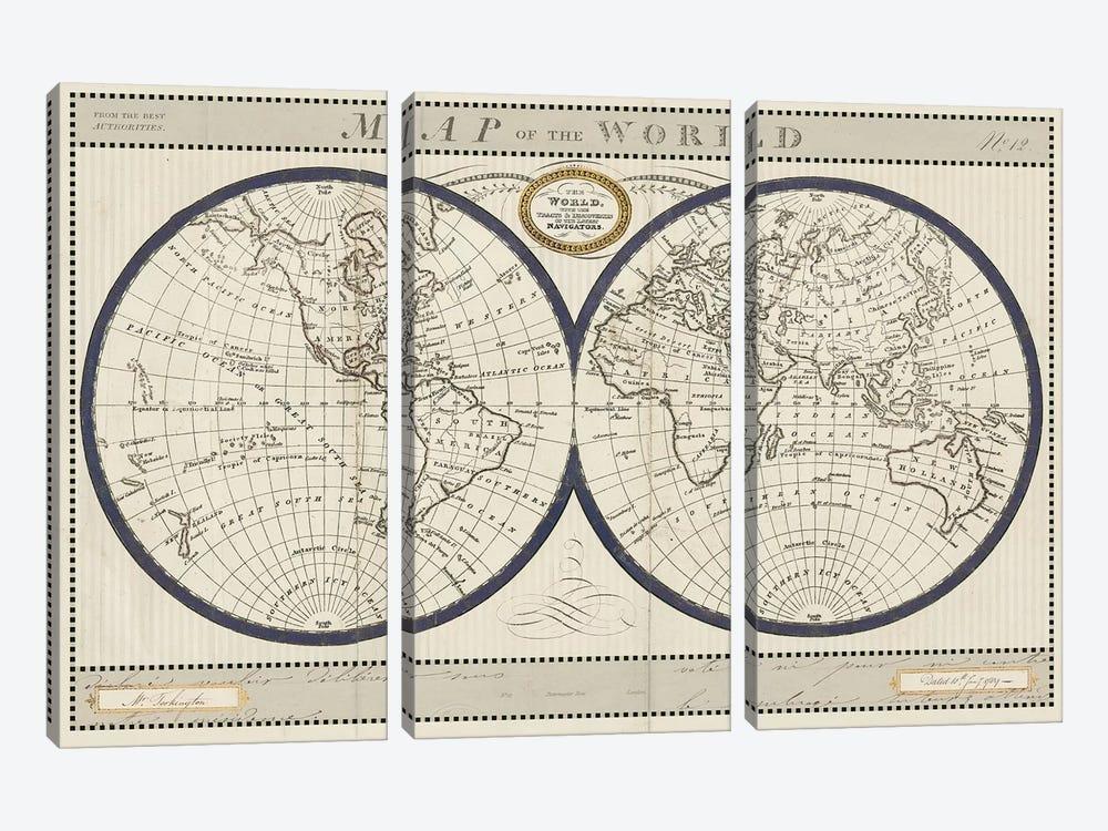 Torkingtons World Map with Indigo by Sue Schlabach 3-piece Canvas Artwork