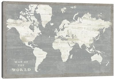 Slate World Map Canvas Art Print