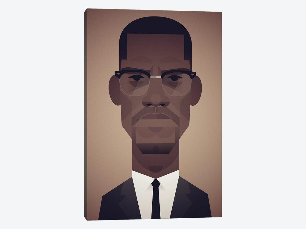 Malcolm X by Stanley Chow 1-piece Canvas Artwork