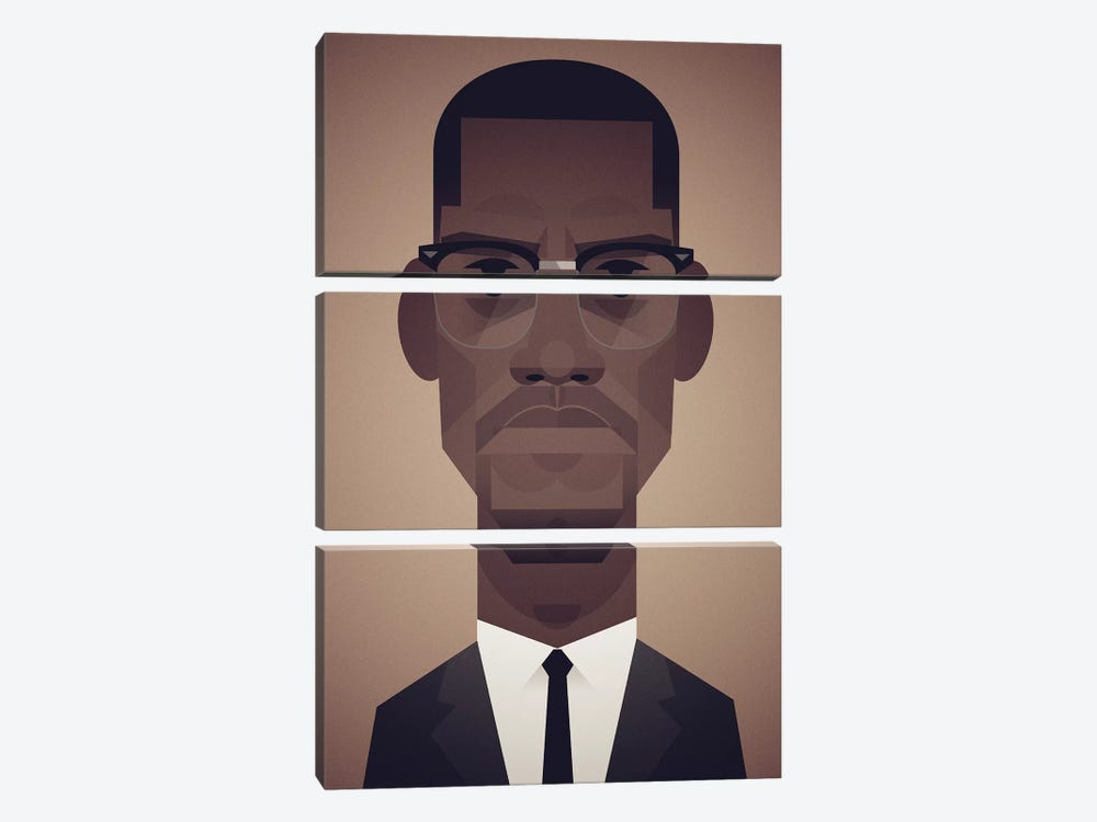 Malcolm X by Stanley Chow 3-piece Canvas Art