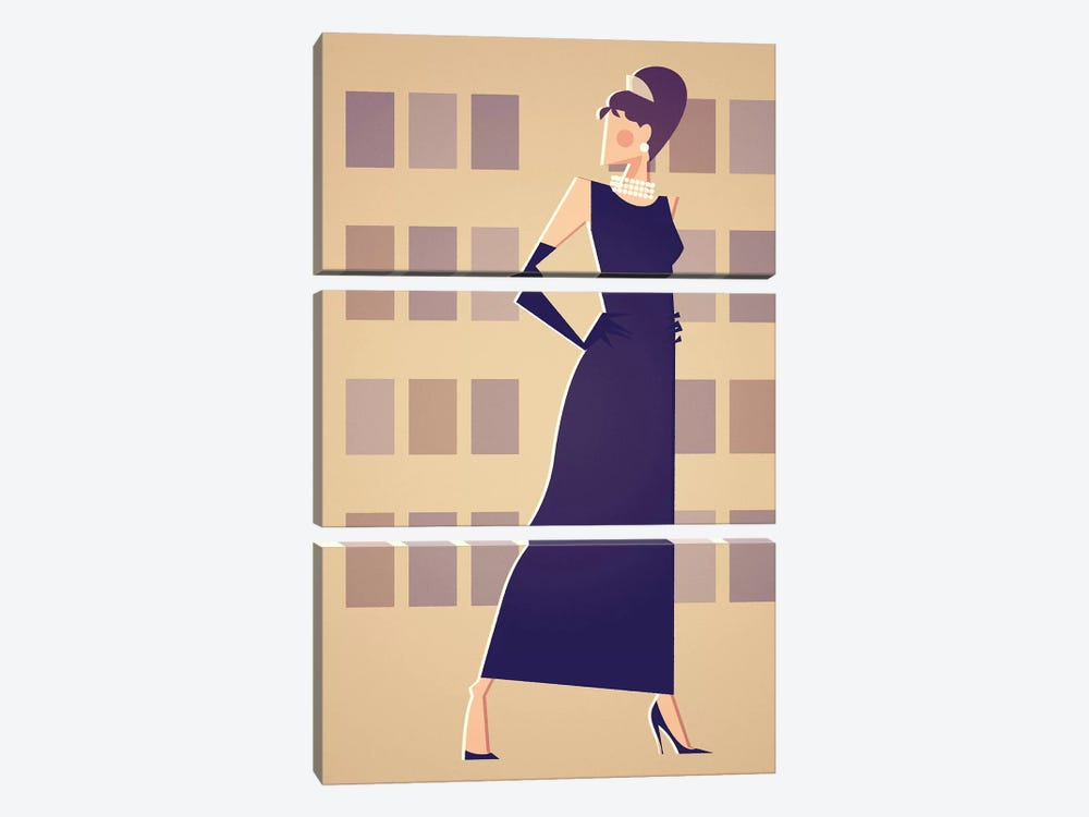 Miss Golightly by Stanley Chow 3-piece Canvas Art Print