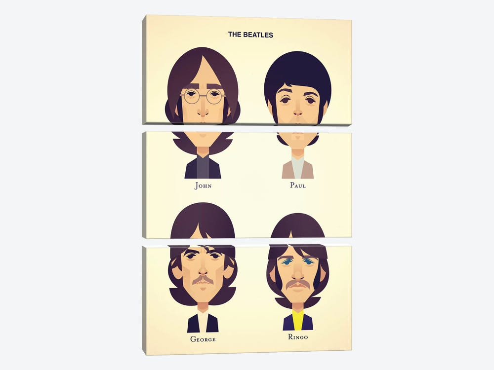 The Beatles by Stanley Chow 3-piece Canvas Wall Art