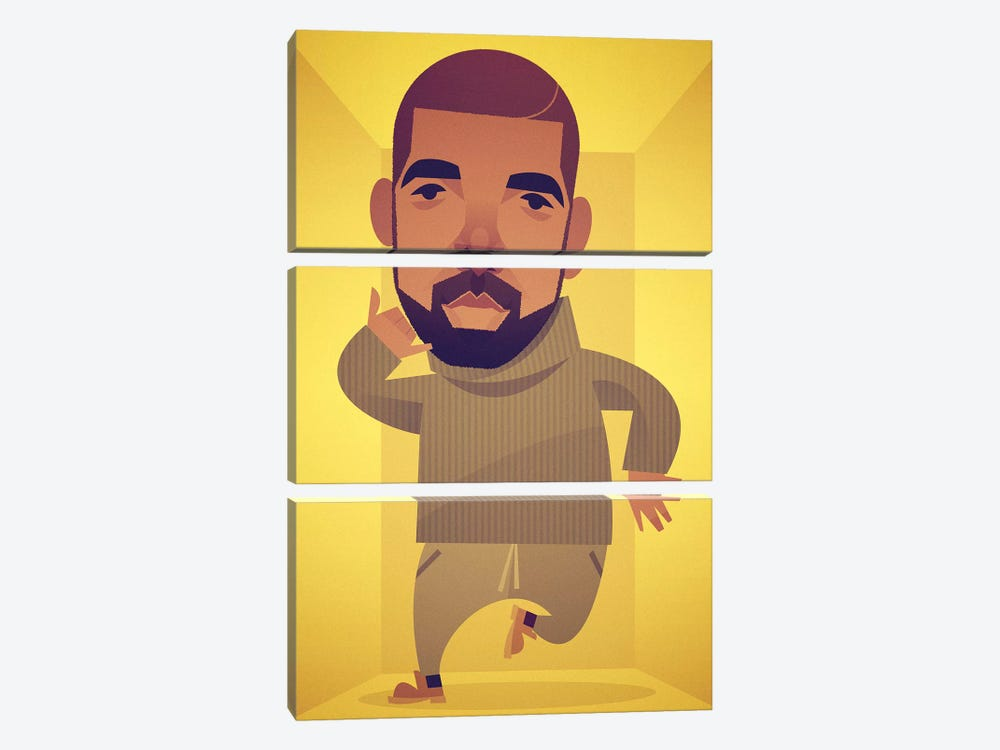 Drake by Stanley Chow 3-piece Canvas Print