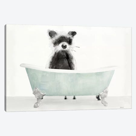 Vintage Tub with Racoon Canvas Print #SLD119} by Stellar Design Studio Canvas Art