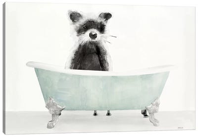 Vintage Tub with Racoon Canvas Art Print