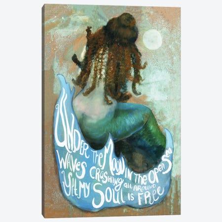 Under The Moon Mermaid Canvas Print #SLD147} by Stellar Design Studio Canvas Artwork