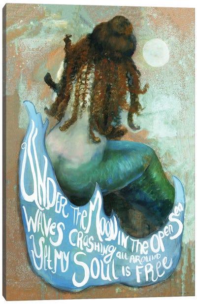 Under The Moon Mermaid Canvas Art Print