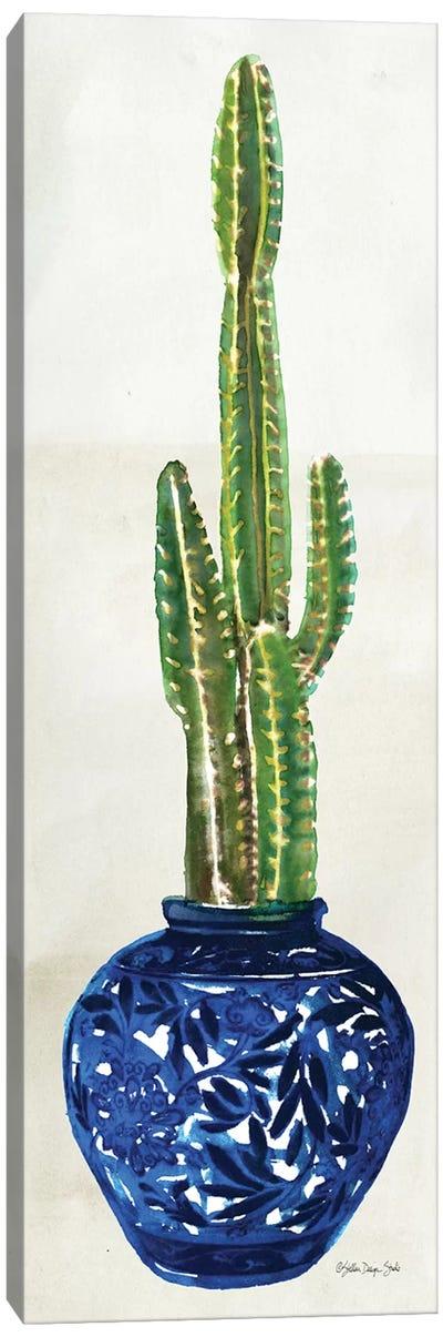 Cacti in Blue Pot I Canvas Art Print