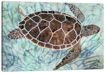 Sea Turtle Collage I Canvas Art Print
