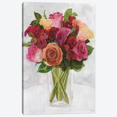 Vase with Flowers II 3-Piece Canvas #SLD206} by Stellar Design Studio Canvas Print