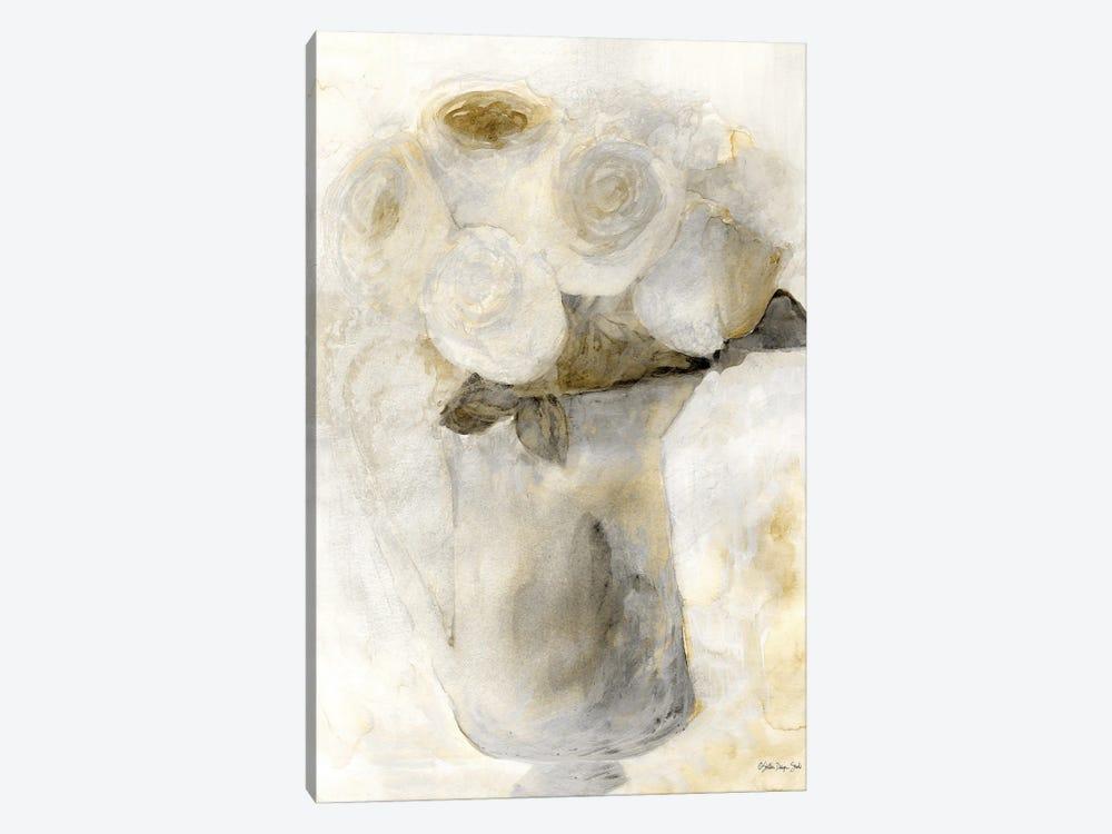 Vintage Vase with White Flowers by Stellar Design Studio 1-piece Canvas Print