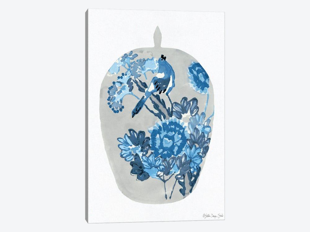Blue Bird Vase by Stellar Design Studio 1-piece Canvas Wall Art