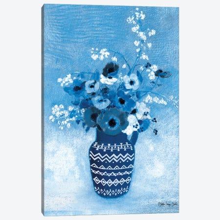 Moody Blue Floral Canvas Print #SLD277} by Stellar Design Studio Canvas Wall Art