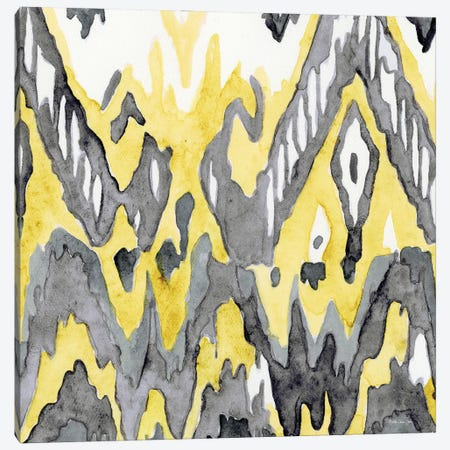 Yellow Gray Ikat II Canvas Print #SLD376} by Stellar Design Studio Canvas Art Print