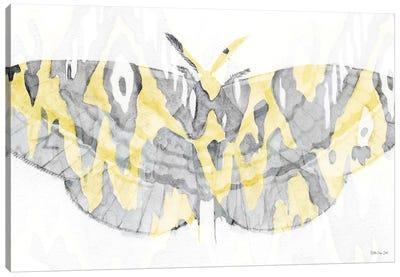 Yellow Gray Patterned Moth I Canvas Art Print