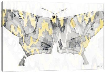 Yellow Gray Patterned Moth II Canvas Art Print