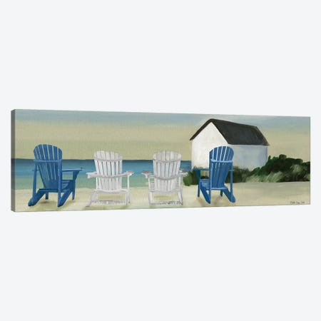 Beach Chairs Panorama Canvas Print #SLD46} by Stellar Design Studio Canvas Artwork