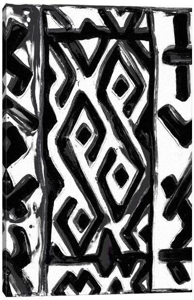 African Textile Woodcut V Canvas Art Print