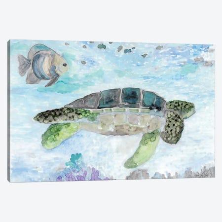 Swimming Sea Turtle Canvas Print #SLD68} by Stellar Design Studio Art Print