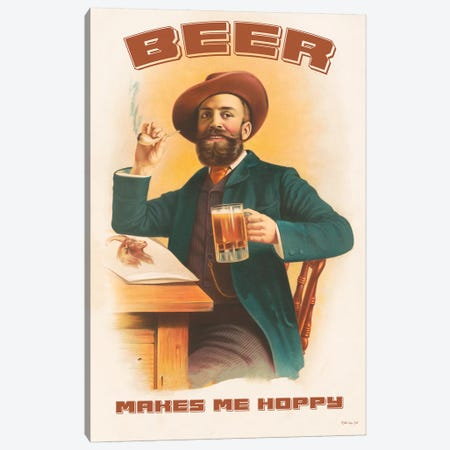 Beer Makes Me Hoppy Canvas Print #SLD70} by Stellar Design Studio Canvas Wall Art