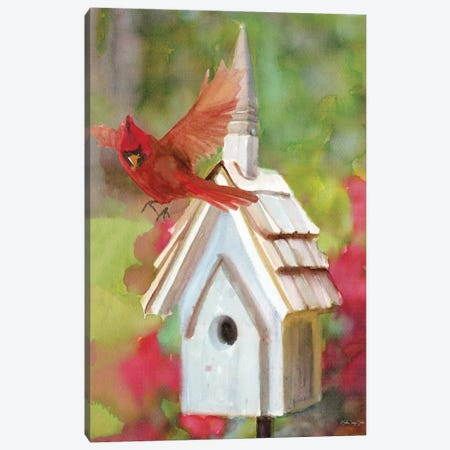 Cardinal Bird House Canvas Print #SLD85} by Stellar Design Studio Canvas Artwork