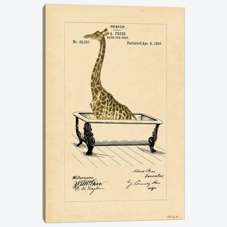 Giraffe in Tub Canvas Print #SLD90} by Stellar Design Studio Canvas Art