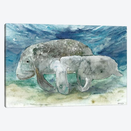 Manatee and Calf Canvas Print #SLD98} by Stellar Design Studio Canvas Wall Art