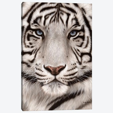 White Tiger Face Canvas Print #SLG34} by Rachel Stribbling Canvas Wall Art