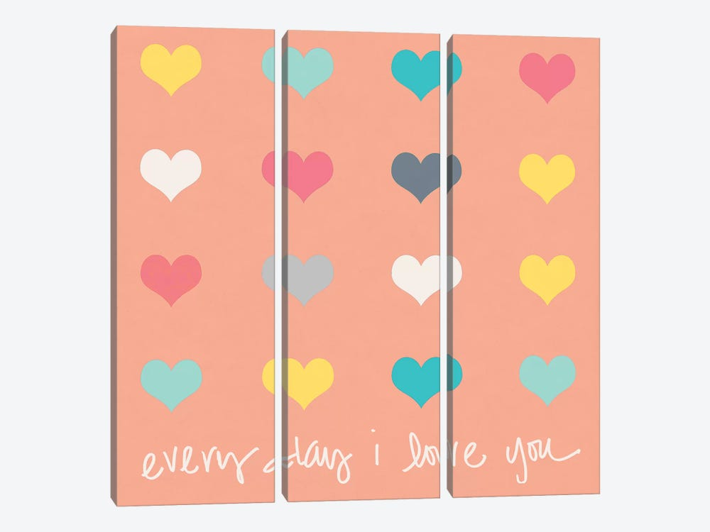Everyday I Love You on Pink by Shelley Lake 3-piece Canvas Wall Art