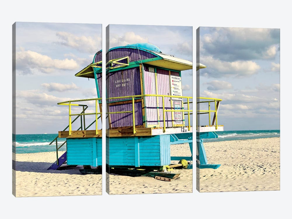 12th Street Lifeguard Stand by Shelley Lake 3-piece Canvas Art
