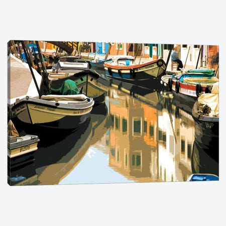 Burano Boats 3-Piece Canvas #SLK8} by Shelley Lake Canvas Print