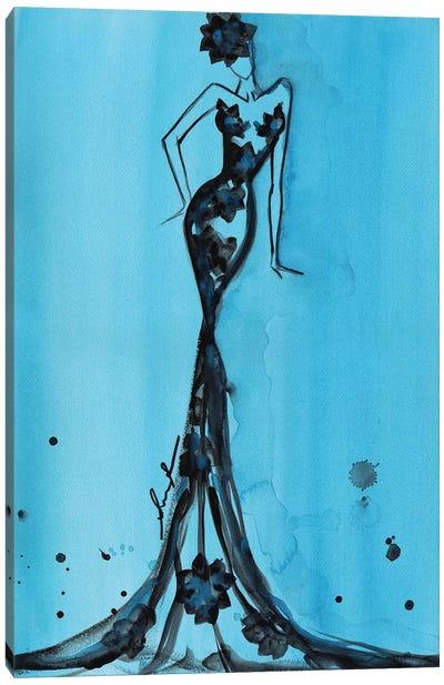 Art Deco Watercolor Turquoise Canvas Art Print