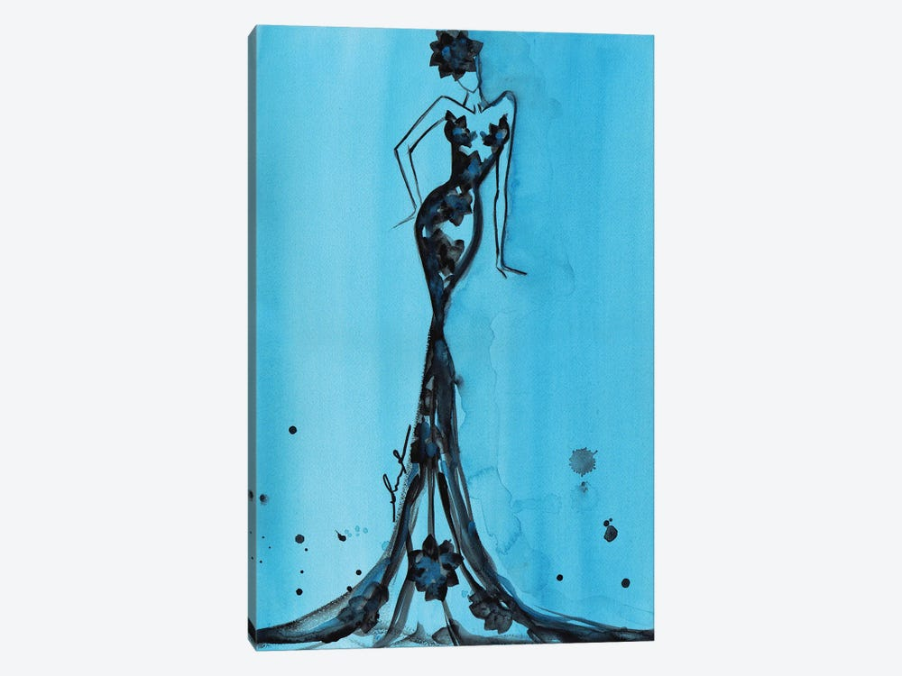 Art Deco Watercolor Turquoise by Sonia Stella 1-piece Canvas Print