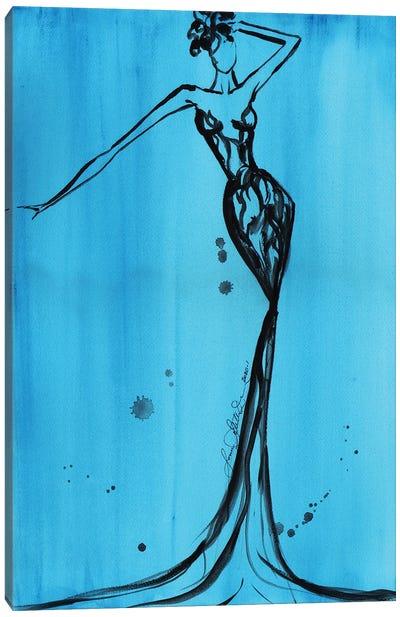 Art Deco Watercolor Turquoise II Canvas Art Print