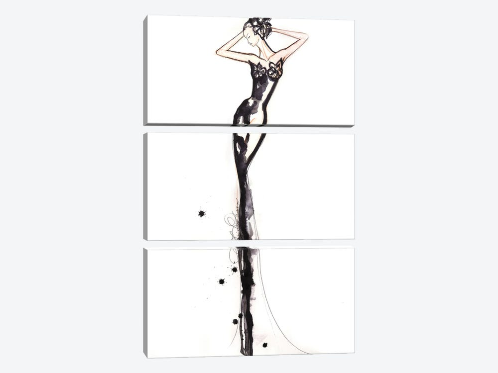 Black And White Figure Drawing by Sonia Stella 3-piece Canvas Art Print