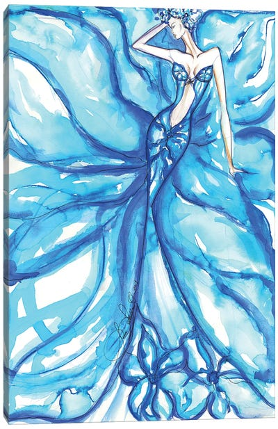 Blue Flower Girl Canvas Art Print