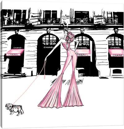 Chanel High Fashion Bull Doggie Canvas Art Print