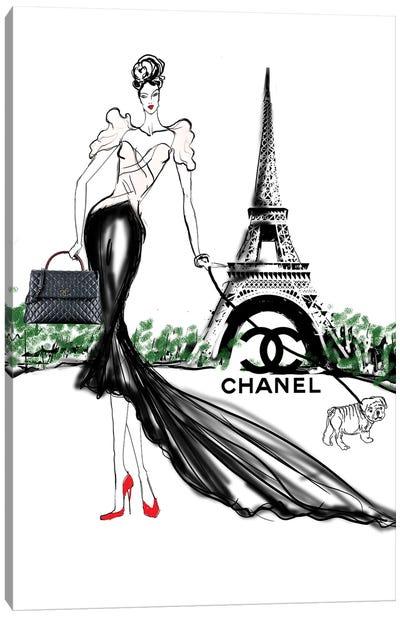 Chanel Paris Bully Dog Art Canvas Art Print