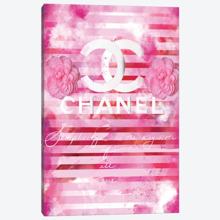 Chanel Quote Pink Canvas Print #SLL31} by Sonia Stella Canvas Wall Art