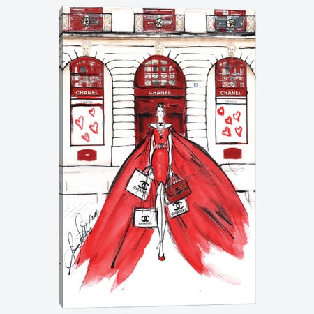 Chanel Red Watercolor Canvas Print #SLL33} by Sonia Stella Canvas Wall Art