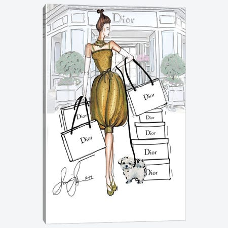 Dior Green Dress Canvas Print #SLL39} by Sonia Stella Canvas Artwork