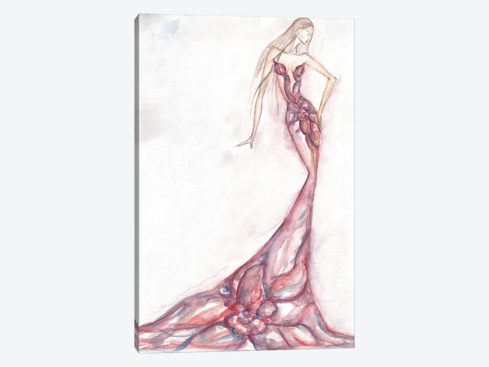 Floral Watercolor Figure Painting by Sonia Stella 1-piece Canvas Print