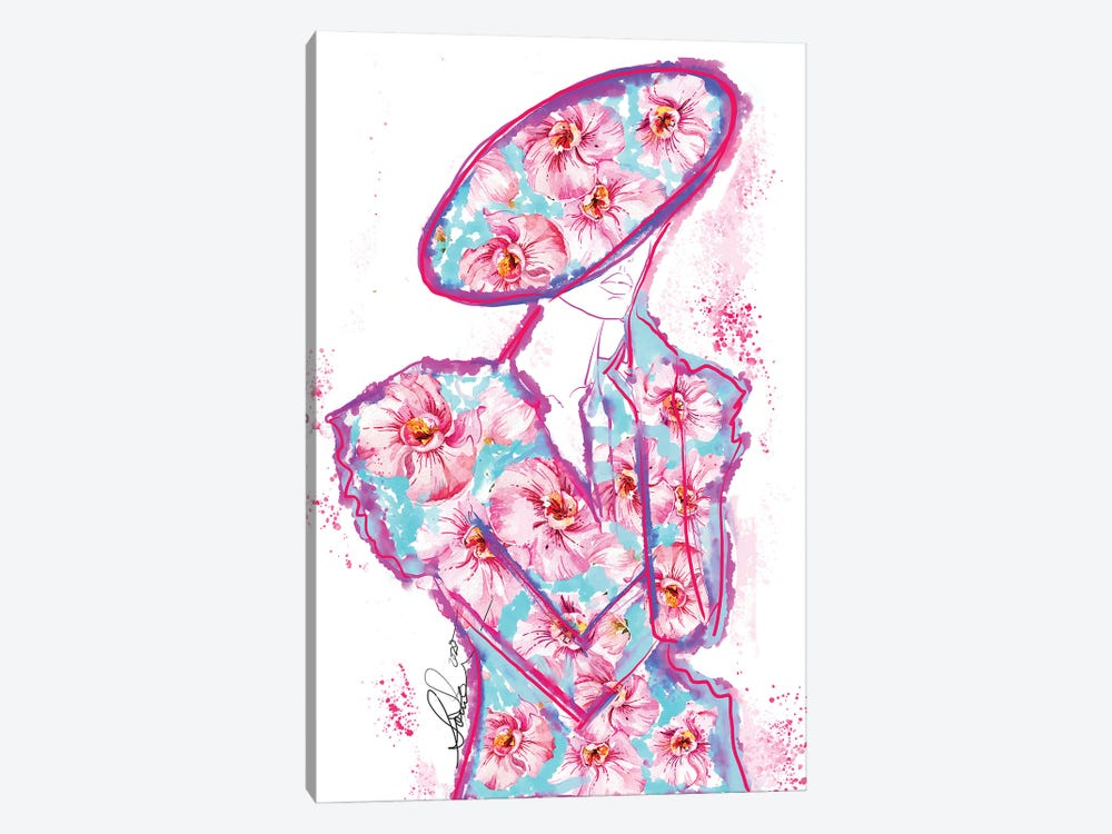 Abstract Orchid Fashion Art by Sonia Stella 1-piece Canvas Print
