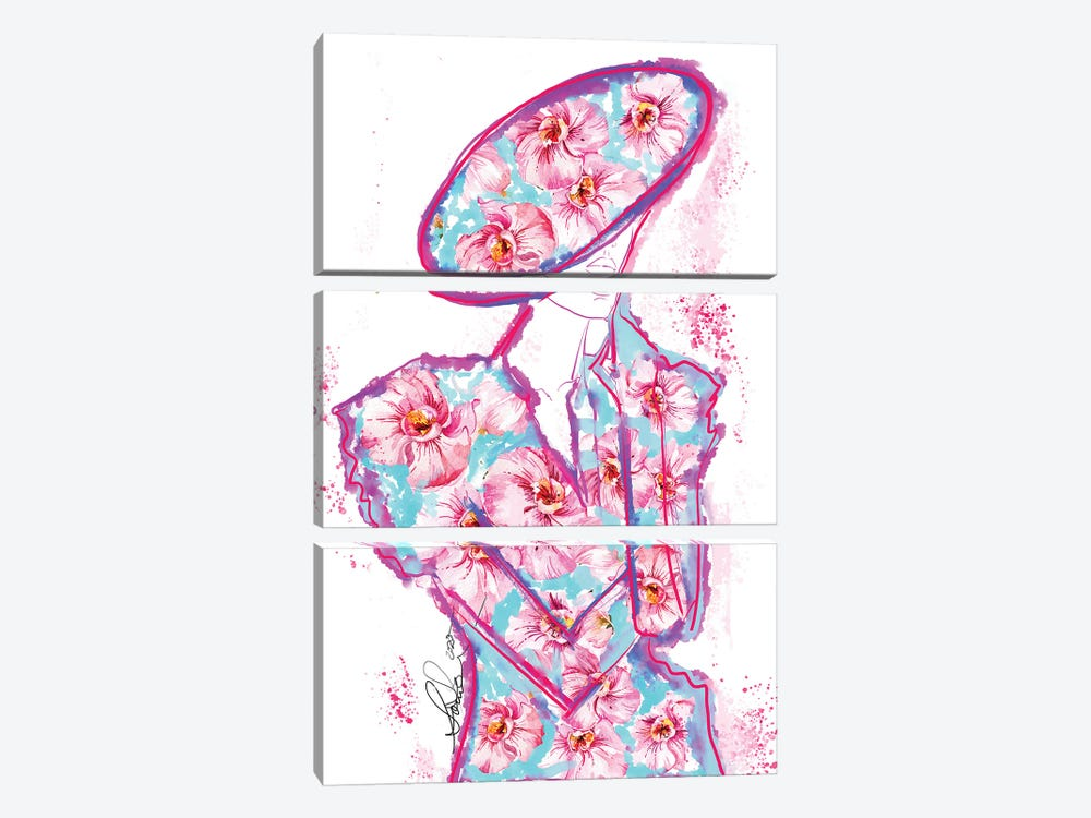 Abstract Orchid Fashion Art by Sonia Stella 3-piece Canvas Print